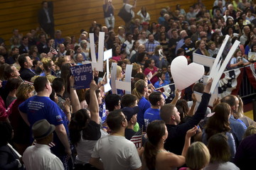 Supporters of Hillary Clinton cheer during a rally with the Democratic presidential candidate at Dunmore High School in Dunmore, Pennsylvania