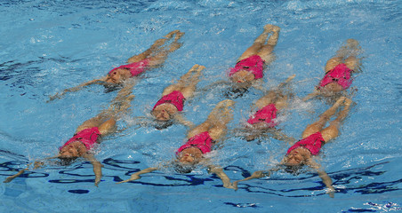 Swimming- European Aquatics Elite Championships- Team technical final synchronized swimming- London