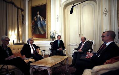 U.S. Under Secretary for Political Affairs Wendy Sherman, U.S. Secretary of Energy Ernest Moniz, U.S. Secretary of State John Kerry and Atomic Energy Agency (IAEA) Director General Yukiya Amano, meet at a hotel in Vienna