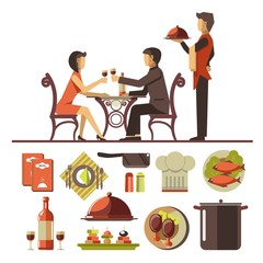 Couple dating in restaurant and set of dishes below