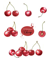 Hand-drawn watercolor illustration set with different cherry clip-art. Red berries isolated on the white background