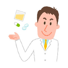 vector illustration of a young male pharmacist