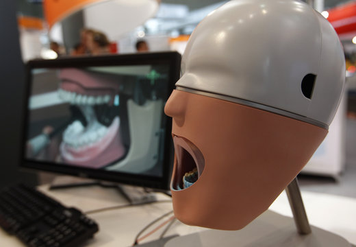 A setup for a digital impression for a denture is pictured at the Hanover industrial fair in Hanover