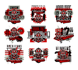 A set of vector illustration on the theme of fire, rescue squad, dangerous work. Grunge effect, text, lettering. Typography, T-shirt graphics, print, banner, poster, flyer