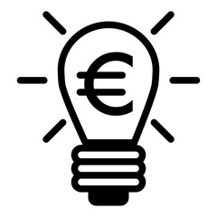 Lighting bulb and euro vector icon. Black and white euro illustration. Outline linear money icon.