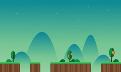Foto op Aluminium Groene koraal Game background scenery with mountain