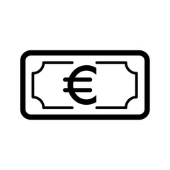 Money euro vector icon. Black and white cash illustration. Outline linear banking icon.