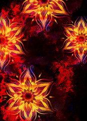 floral ornamental structure with filigrane pattern mandala on abstract background. Fire Effect