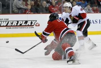 Senators' Pageau shoots past Devils' Larsson in NHL game in Newark