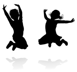 Happy Silhouette Kids Jumping