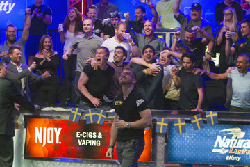 Supporters of Martin Jacobson of Sweden reacts to a turn card on the final hand during the 2014 World Series of Poker main event at the Rio hotel-casino in Las Vegas