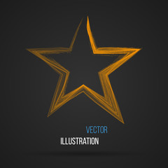 Abstract star made of lines on dark background. Vector