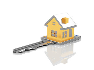 Key with golden house figure isolated on white background. 3D illustration