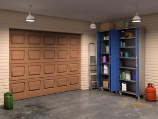garage with garage doors