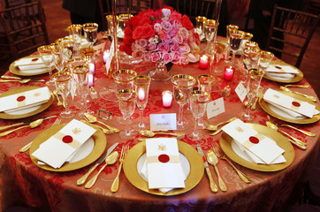 A view shows the table setting for a luncheon in honor of China's Vice President Xi in Washington