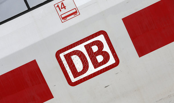 The logo of German railway operator Deutsche Bahn is seen on a ICE high speed train during a media tour at the service centre in Berlin Rummelsburg