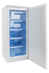White refrigerator isolated on white background