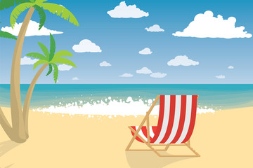 Vacation On The Beach. Summer Holiday. Flat Style Vector Illustration