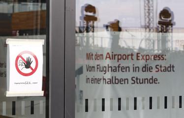 Entrance to construction site inside main terminal of Berlin Brandenburg international airport Willy Brandt in Berlin