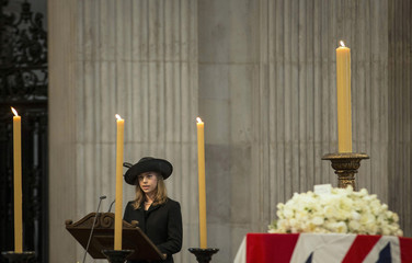 Amanda Thatcher gives a reading at the funeral service for former British prime minister, Margaret Thatcher, at Saint Paul's Cathedral, in London