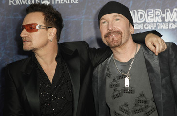 """Bono and The Edge arrive at the Broadway opening of """"SPIDER-MAN Turn Off The Dark"""" in New York City"""