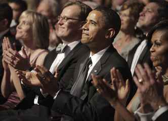 """U.S. President Obama and first lady Michelle Obama attend performance """"Spirit Of America: A Ford's Theatre Celebration"""" at Ford's Theatre in Washington"""