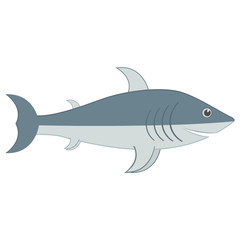 Cute cartoon character shark with open mouth. Smiling and fun Shark. Shark face with teeth and jaw. Marine aquatic animal. Icon of shark. Flat vector isolated illustration on white background.