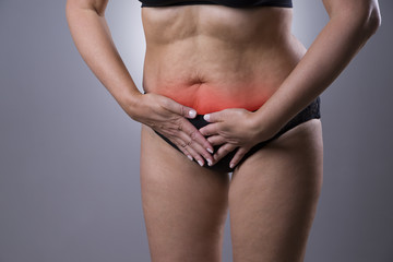 Woman with menstrual pain, endometriosis or cystitis, stomach ache