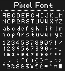 pixel type for games, retro font vector illustration