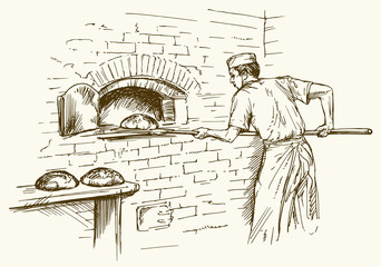 Baker taking out with shovel bread from the oven, vector illustration.