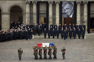 Funeral of former French politician and President of the Cour des Comptes Philippe Seguin at the Saint-Louis des Invalides church in Paris