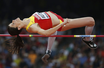Beitia of Spain competes in the women's high jump final during the 15th IAAF World Championships at the National Stadium in Beijing