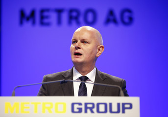Koch, CEO of German retailer Metro addresses the annual shareholder meeting in Duesseldorf