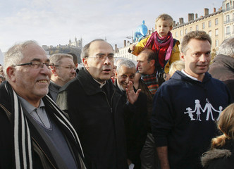 French Cardinal Barbarin Archbishop of Lyon attends a demonstration against marriage for all in Lyon