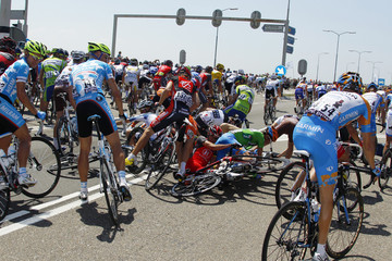 Riders fall during the first stage of the Tour de France cycling race from Rotterdam to Brussels