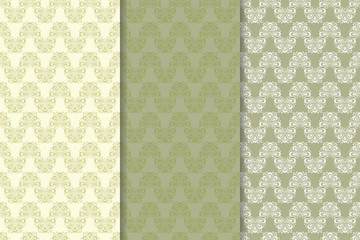 Floral seamless pattern. Olive green abstract background
