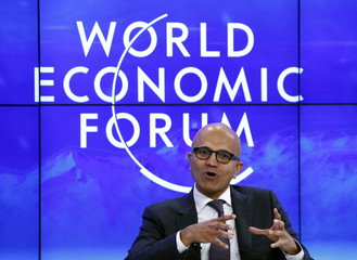 "Nadella CEO of Microsoft attends the session ""The Transformation of Tomorrow"" during the annual meeting 2016 of the WEF in Davos"