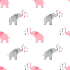 Watercolor cute elephants pattern. Vector simple seamless background for kids.