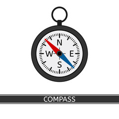 Compass vector icon, isolated on white background, flat style