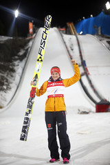 Vogt of Germany reacts after winning the women's Individual normal hill HS100 ski jumping event at the Nordic World Ski Championships in Falun