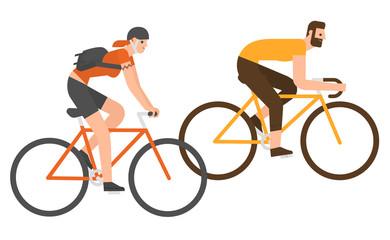Flat design people riding bicycle