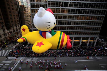 A Hello Kitty float makes its way down 6th Avenue during the 90th Macy's Thanksgiving Day Parade in the Manhattan borough of New York