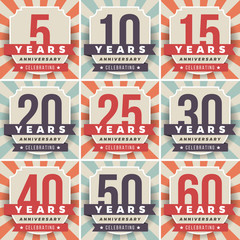 Vector set of anniversary signs, symbols. 5, 10, 15, 20, 25, 30, 40, 50, 60 years jubilee design elements collection.