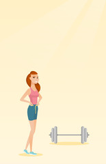 Woman measuring waist vector illustration.