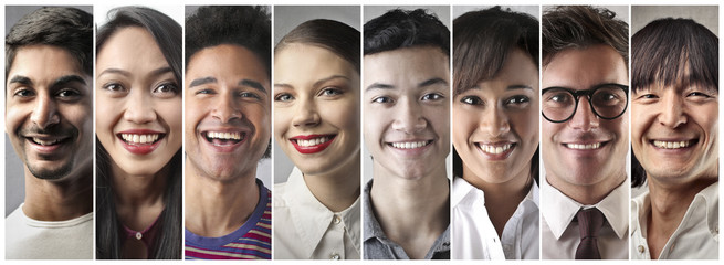 Smiling people from different cultures