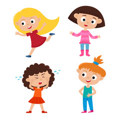 Color vector set of cartoon girls with different emotions isolat