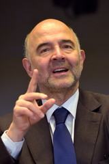 European Economic and Monetary Affairs Commissioner Moscovici gestures before EP Joint Committees on Employment and on Economic and Monetary Affairs meeting at the EU Parliament in Brussels, Belgium