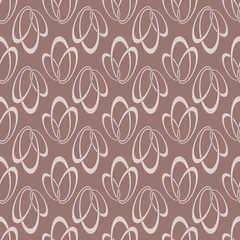 Colored seamless pattern with geometric elements. Brown background