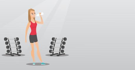 Sportswoman drinking water vector illustration.