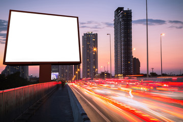 blank billboard in the twilight